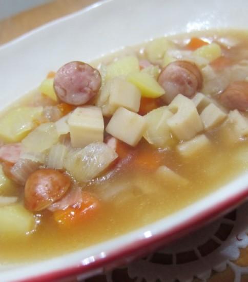 角切り野菜のポン酢スープ