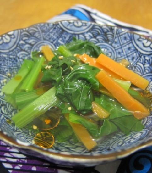 小松菜煮びたし ラー油仕上げ